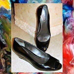 Alfani Step N Flex Patent Leather Open Toe Wedges